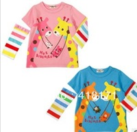 Spring Children t-shirt Girl cotton long sleeve t-shirt  kid cuteness giraffe print top 2COLORS 5 PCS/LOT Free shipping