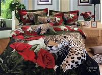 Leopard red roses 3d bedding set full queen size 4pcs Animal Duvet/Comforter cover flowers bedlinen bed sheet bedclothes cotton