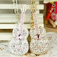 Free Shipping /Crystal jewelry guitar the u disk 16G/ personality creative diamond couple USB flash drives   U007