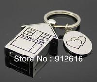 Free Shipping / Metal keychain U disk 16g, stainless steel U disk small house, fashion creative U disk / USB Flash Drives   U012