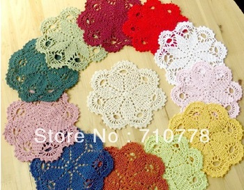 Handmade hook needle crochet decoration mat vintage 100% cotton cutout bowl pad circle heat pad multicolor