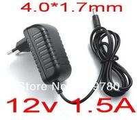 High quality 1PCS AC 100V-240V Converter Adapter DC 12V 1.5A Power Supply EU Plug Free shipping DC 4.0mm x 1.7mm 1500mA
