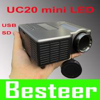 wholesale Free shipping   Mini Portable LED Projector  AV USB SD input Factory price long lifetime hot sale uc20