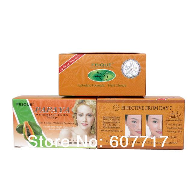 12set/lot wholesale PAPAYA Whitening anti freckle natural botanical formula skin care (day +night cream)(China (Mainland))