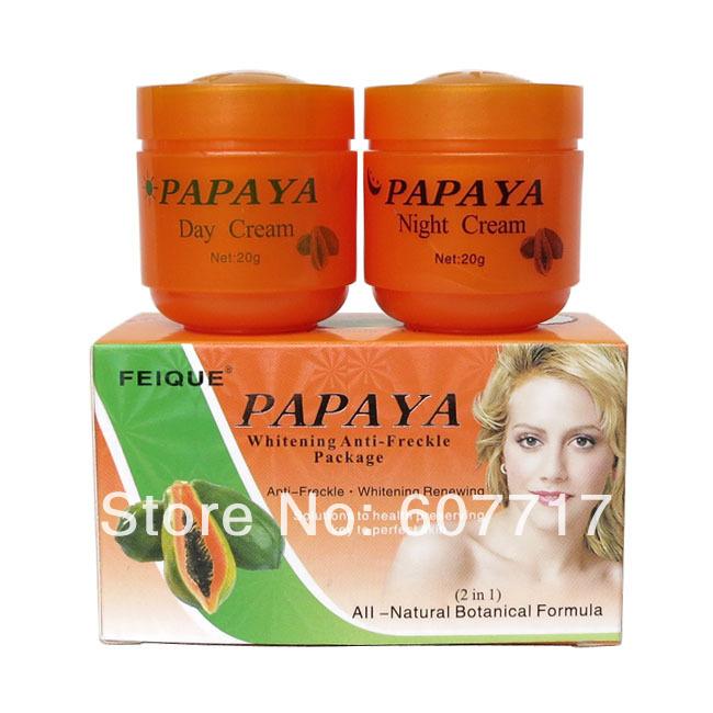 PAPAYA Whitening anti freckle natural botanical formula skin care day cream+night cream(China (Mainland))