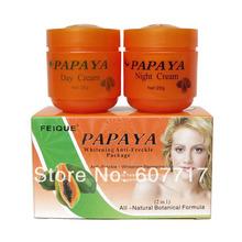 Papaya Whitening anti freckle fórmula botânica natural , dia cuidados da pele creme + creme de noite(China (Mainland))