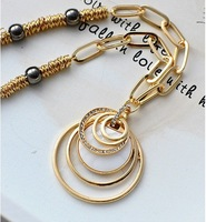 Free shipping 2013 jewlery women accessories long design crystal pendants necklace sweater necklace