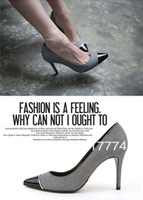 Thin heels women's  color block decoration  sweet shallow mouth  pointed toe high-heeled shoes