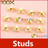 100Pcs 7mm Gold DIY Craft Five Pointed Star Rivet Punk Rock Spike Studs Spot