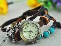 2013 New puck lady vintage charm Prayer Wheel bracelet Designer Rome time women fashion Genuine cow leather quartz wristwatch