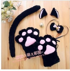 Cat cosplay Neko anime fancy costume paw ear tail bell 3colors(China (Mainland))