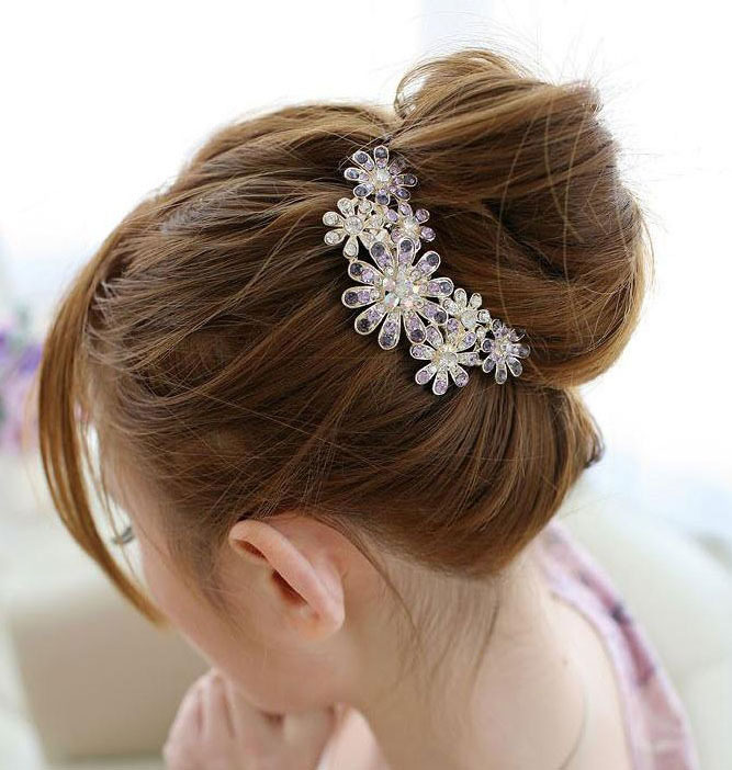 Fashion Flower Hair jewelry Rhinestone Hair Accessories Flowers Metal Hair Fork Hairpin For Women SF065(China (Mainland))