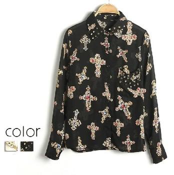 EAST KNITTING AA-131 tops with rhinestone women clothes fashion 2014 punk style Rivet Chiffon Blouse cross shirt  Diamond tshirt