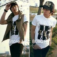 free shipping Male t-shirt men's slim Men t-shirt squared digital short-sleeve basic shirt