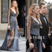 GE525 Free Shipping Gossip Girl Blake Lively Zuhair Murad Sheathy Long Sleeve V-neck beaded Lace Prom dress Party Dress
