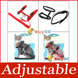 New Pet Cat Adjustable Nylon Lead Leash Collar Harness Kitten Belt Safety Rope(China (Mainland))