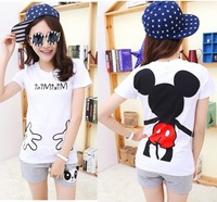 Free ship,lady/ women's short-sleeve 100% cotton t-shirt mickey white
