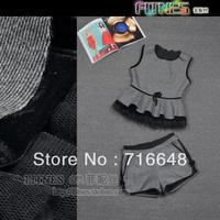Free shipping small gauze ruffle skirt woolen vest set top shorts