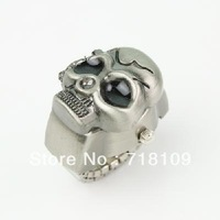 Lady's Stainless Steel Antique Silver Ring Watch with Diamond Skull Head Cover
