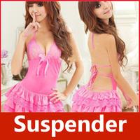Sexy Women Lace Backless Tie Suspender Dress G-string Lingerie Underwear 17