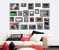 SM-23A-B Pure black 23Pcs Wall Mounted Photo Frame Art Home Decor Set