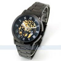 Free Shipping Titanium Black Automatic Skeleton Mechanical Mens Watch Hot Brand Watches Men Coolest Gifts for Men Watches