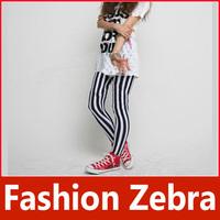New Fashion Lady Chic Look Vertical Stripe Zebra Leggings Legwear Pants