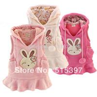 Free Shipping Hot-selling 2014 rabbit coral fleece female child vest dress Print  rabbit Coral vest (CC007TH)