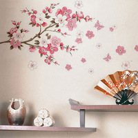 Free shipping: Factory wholesale Flowers Butterfly Removable Wall Sticker Decal Art DIY Home Decor Wall Vinyl 60x90cm/piece
