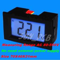 Free Shipping Black Mini Digital Voltmeter Panel AC 80-500V AC220V 380V Blue LCD Digital Alternating Voltage Meter Power Monitor