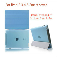 Triple Magnetic Smart cover PU Leather case Stand Protection Skin Soft Sleep Wakeup holster +Protective film For iPad 2 3 4