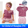 Retail Hot selling Design 2013 New Purple Baby Girl 3-piece set: bowknot headband + Shirt + Floral Printed Shorts