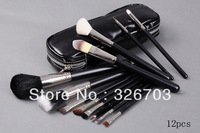 EMS free shipping! professional TOP Brand new arrival 12pcs black goat makeup brush set, cosmetic brush set high quality