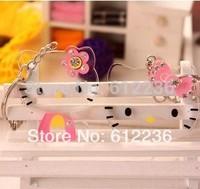 Hello Kitty pendant acrylic Keychain / circle / crystal chaton mobile phone pendant key ring cheap very beautiful good quality