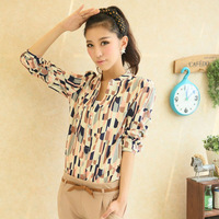 2013 Fashion Vintage Slim V-neck Printed Geometry Plaid Pattern Blouses for Lady(Size:S,M,L),M-T0002,FREE SHIPPING