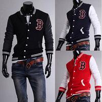 "2014 New Men's baseball Jackets Uniform Men ""B"" Embroidery Jacket For Men Brand Hot Coat Free Shipping M-XXL"