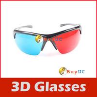 3D Glasses Sport Style Red & Blue Dimensional Anaglyph Black Plastic Frame 3D