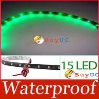 3020 SMD 15 Led Lamp String Waterproof Flexible Car Strip Light 30CM Green