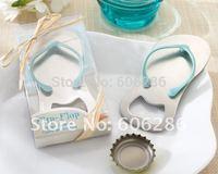 200pcs/lot Beach Wedding gift Flip Flop Metal bottle opener Slipper Wine Opener Festive & Party Supplies