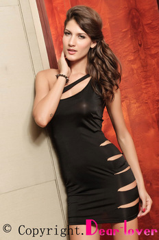 Slinky Mini Dress Sexy Side Cut Out Dress Black with Matching G-string LC2521 Cheaper price work wear women
