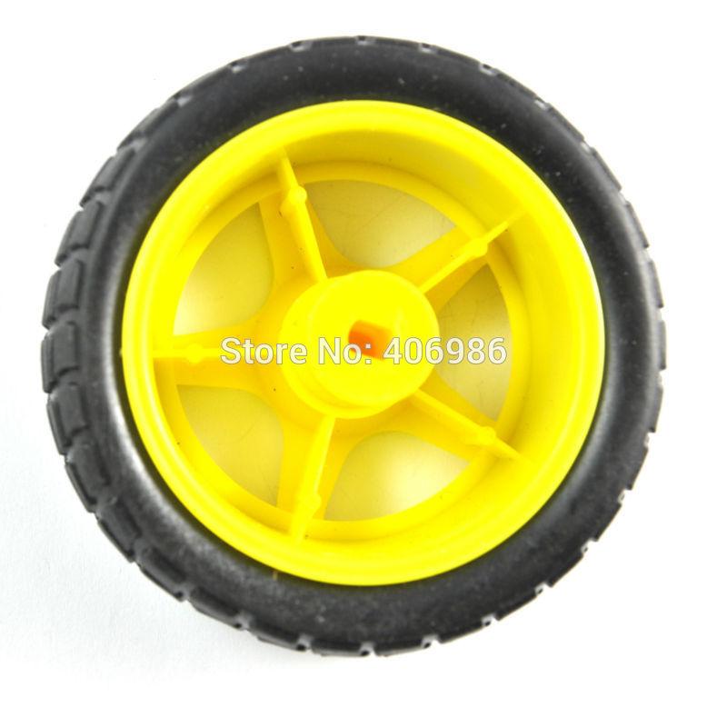 10Pcs/Lot  66MM 1:48 Small Smart Car Model Plastic  Robot Tire Wheel FZ0394 Free Shipping Dropshipping(China (Mainland))