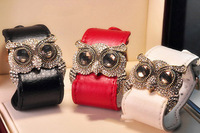 Leather Crystal Owl Cuff Bracelet Fashion PU Leather Bangle Pageant Bracelet Owl Bracele FREE SHIPPING