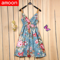 Amoon / Free Shipping / Women Spring Summer Autumn Casual Pretty Print Dress /2 Size /3 Colors /Cotton /Short Puff Sleeve
