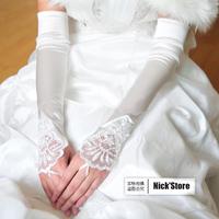 Fingerless Fashion Girls Ladies Beads Satin Long Party Bridal Wedding Nobile Elegance Princess Lace Gloves Elbow Free Shipping
