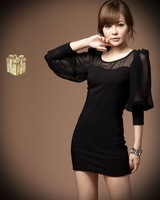 Free shipping 2013 new fashion sexy chiffon stitching lantern sleeve Slim was thin package hip dress skirt