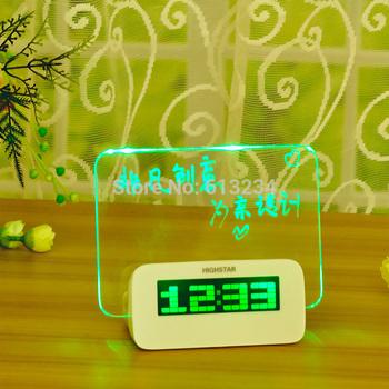 Free Shipping 1 Piece Scribble Alarm Clock Calendar 4 Port USB Hub Memo Board+Pen