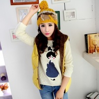 FREE SHIPPING 1753 autumn and winter women plush hooded fashion cotton vest thickening cotton vest 6 COLORS