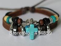083 Brown leather bracelet Cross bracelet Charm bracelet Lucky fashion jewelry Birthday gift Sacred religious jewelry for men