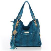 Fashionable serpentine pattern high quality genuine leather tassel women's handbag shoulder bags