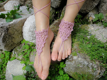 Crochet barefoot sandles, foot jewelry, lace, wedding barefoot sandals,sexy,yoga,steampunk sandals, beach pool 5pair/lot